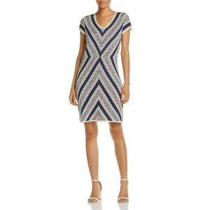 NIC+ZOE Chevron Knit A-Line Mini Dress L